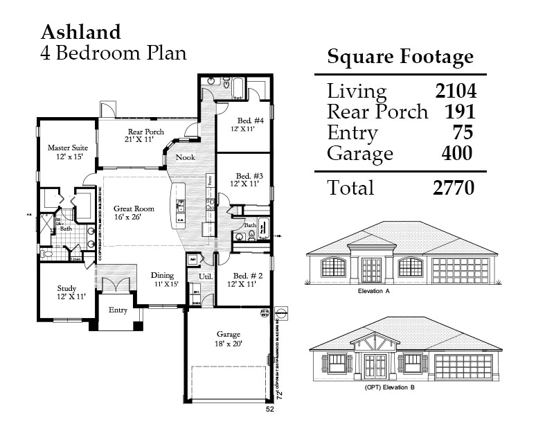 Ashland 4 Bedroom Floorplan and Square Footage