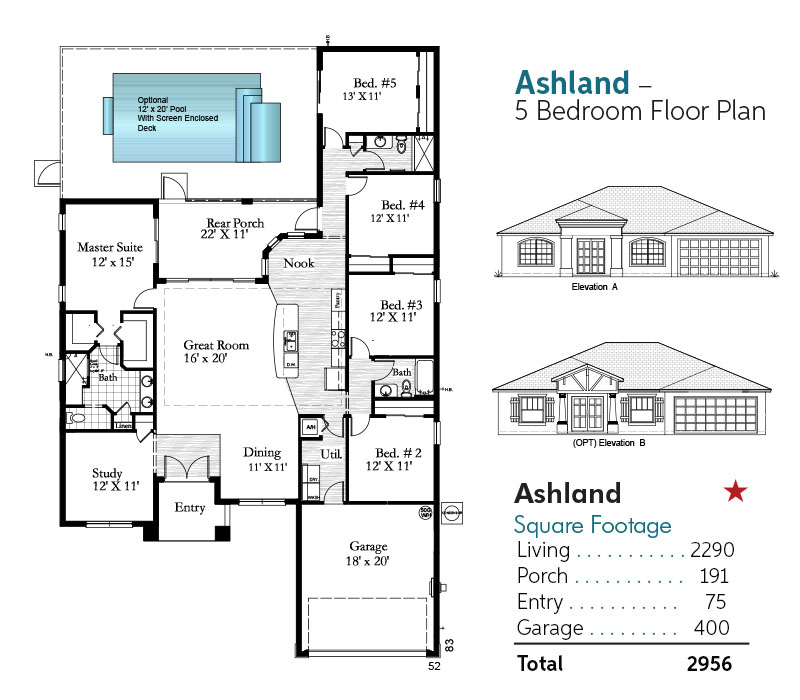 Ashland 5 Bedroom Floorplan and Square Footage