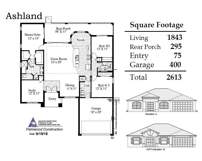 Ashland 3 Bedroom Floorplan and Square Footage