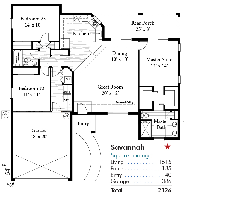 Savannah Floorplan and Square Footage