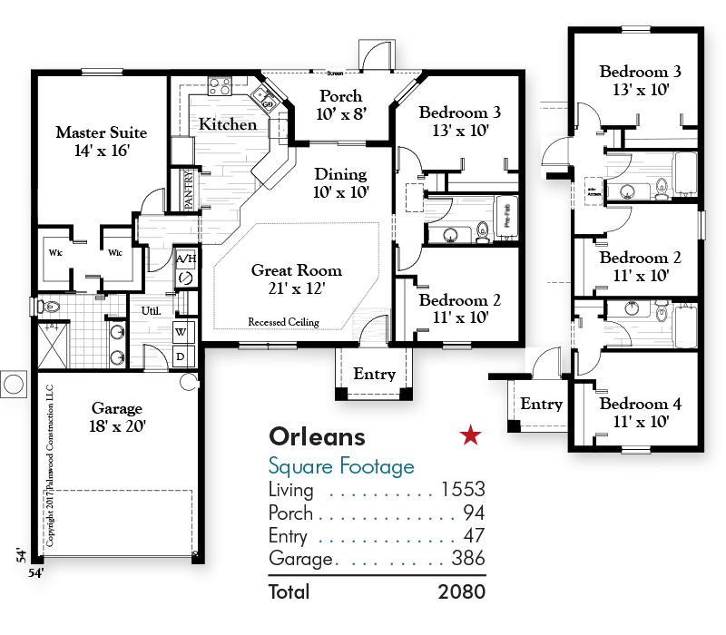 Orleans Floorplan and Square Footage