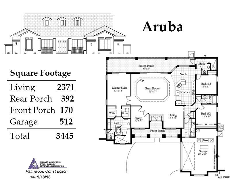 Aruba Floorplan and Square Footage