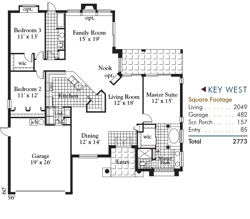 Key West Floorplan and Square Footage