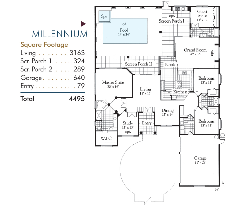 Millennium Floorplan and Square Footage