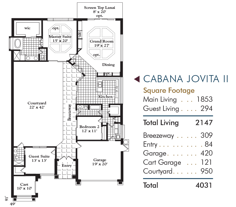 Cabana Jovita Floorplan and Square Footage