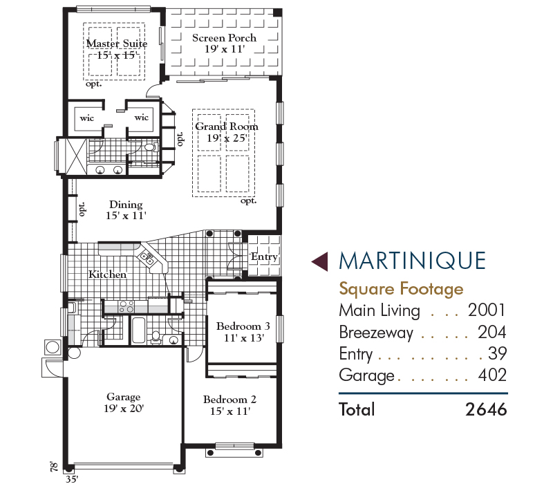 MARTINIQUE VILLA Floorplan and Square Footage