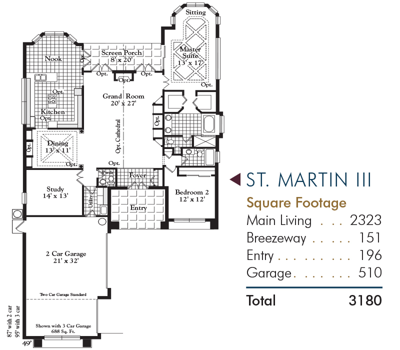 St. Martin Floorplan and Square Footage