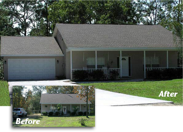 Garage & Room Addition Before and After