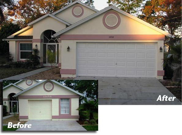 2-Car Garage Door Addition Before and After